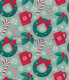 Winter objects seamless pattern.