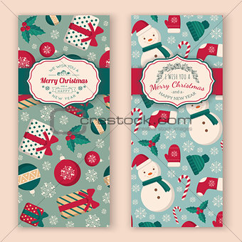 Christmas toys pattern and greeting text.