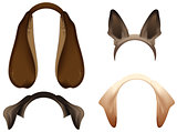 Set Dog ears mask isolated on white
