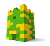 Toy building blocks castle tower 3D