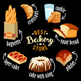 Bakery shop vector icons. Baked bread products icons