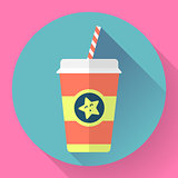 Paper coffee cup with straw. Flat style design - vector