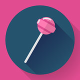 Sweet candy. Pink lollipop vector illustration