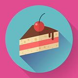 Piece of cake with cherry icon, modern minimal flat design style