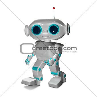 3D Illustration The Little White Robot