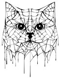 Black spiderweb silhouette head cat. Halloween accessory