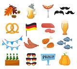 Traditional symbols of the Oktoberfest icons set. German national Oktoberfest objects isolated on white background. Cartoon style vector illusrtration
