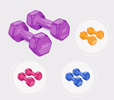 Dumbbells for fitness. Sports inventory.