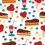 Seamless pattern with cake and ice cream