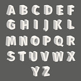 Isometric Font Set Isolated on Grey Background