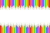 Colorful realistic pencils border.
