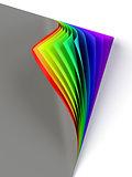 Rrainbow colored curled document corner