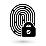 Fingerprint with lock linear icon