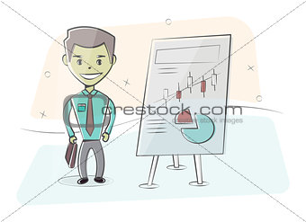 Businessman and graphs on white board. Presentation concept, seminar, training, conference. Character man in cartoon style.