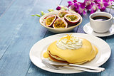 Hawaiian lilikoi passion fruit pancake