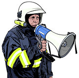 Fireman with Megaphone