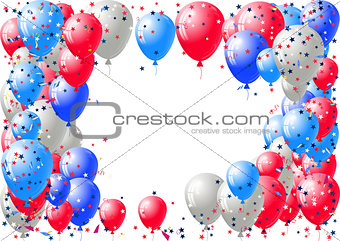 Abstract background with scattered confetti and balloons. Blank festive holiday card template