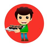 Sushi delivery poster. Bright cheerful character in a flat style