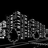 silhouette of buildings and streets at night