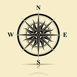 silhouette old compass for design card