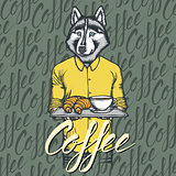 Vector Illustration of husky dog with croissant and coffee