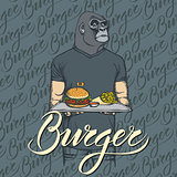 Vector Illustration of gorilla with burger and French fries
