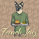 Vector Illustration of cat with burger and French fries