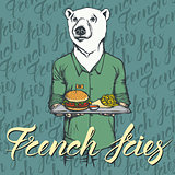 Vector Illustration of white bear with burger and French fries