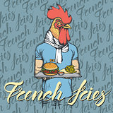 Vector Illustration of rooster with burger and French fries