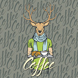 Vector Illustration of deer with croissant and coffee