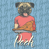 Vector pug dog with meat ham illustration