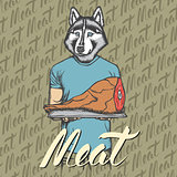 Vector dog husky with meat ham illustration