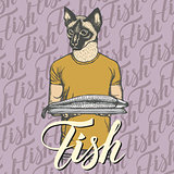 Vector cat with fresh fish illustration