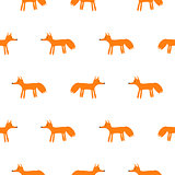 Cute fox animal seamless vector pattern.