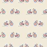 Retro bicycle with bin on the front wheel seamless pattern.