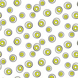 Retro abstract 50s circle dots geo seamless vector pattern.