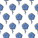 Geometric blue scandinavian style flower seamless simple bold vector pattern.