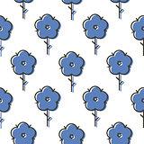 Geometric blue scandinavian style flower seamless simple bold vector pattern.
