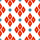 Bright red ottoman rhombuses repeat vector pattern.
