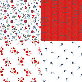 Glade filed small flowers and abstract red seamless vector pattern set.