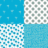 Bright blue and white flowers and abstract shape seamless vector pattern set.