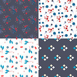 Millefleur flowers and geometric seamless vector pattern set.