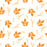 Rustic fall orange leaves seamless pattern.