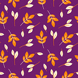 Rustic fall orange leaves seamless purple pattern.