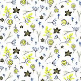 Small flowers and branches seamless vector pattern.