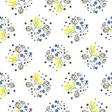 Millefleurs miniature flowers and branches seamless vector pattern.