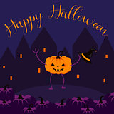 Happy Halloween postcard vector banner.