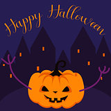 Happy Halloween spooky pumpkin greeting card vector template.