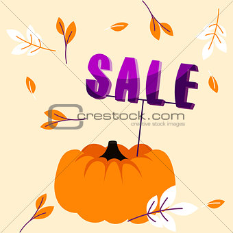 Autumn holiday sale banner with big pumpkin and fall leaves template.