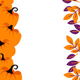 Purple pumpkins on orange border background card template.